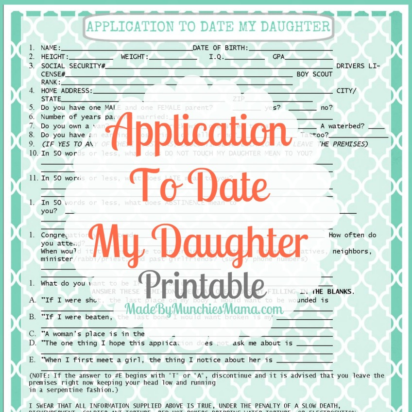 form for dating my daughter